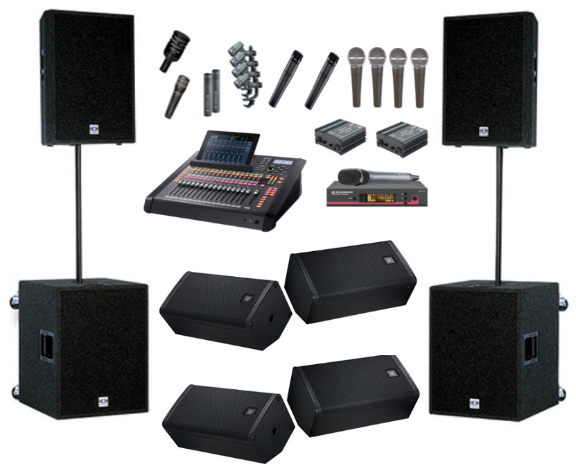 Full PA system including monitors, Digital mixer and microphone