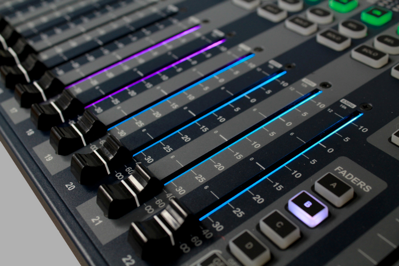 Faders with LED backlighting